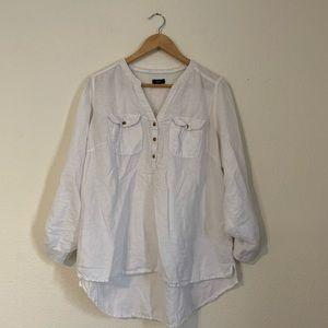 F&F White Cotton / Linen V-Neck Blouse Large